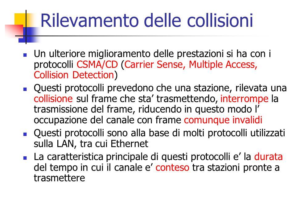 Rilevamento delle collisioni Un ulteriore miglioramento delle prestazioni si ha con i protocolli CSMA/CD (Carrier Sense, Multiple Access, Collision De