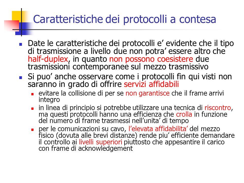 Caratteristiche dei protocolli a contesa Date le caratteristiche dei protocolli e' evidente che il tipo di trasmissione a livello due non potra' esser