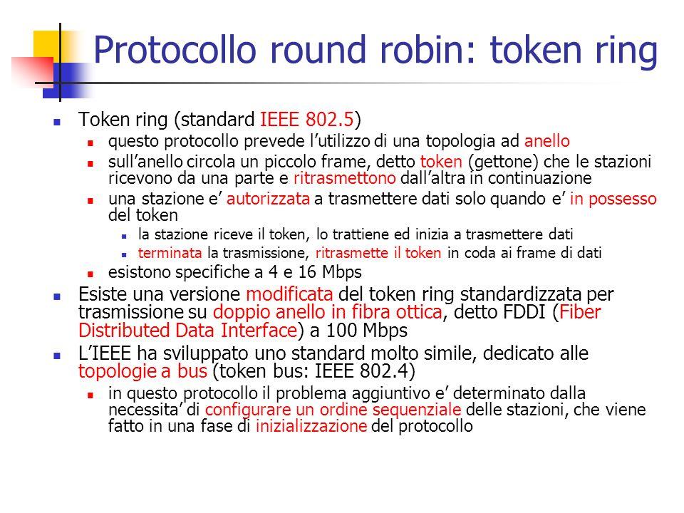 Protocollo round robin: token ring Token ring (standard IEEE 802.5) questo protocollo prevede l'utilizzo di una topologia ad anello sull'anello circol