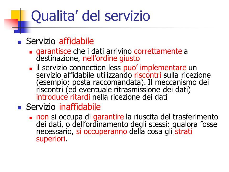 Qualita' del servizio Servizio affidabile garantisce che i dati arrivino correttamente a destinazione, nell'ordine giusto il servizio connection less