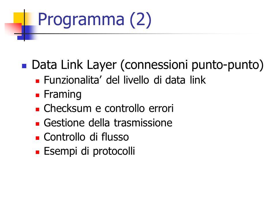 Programma (2) Data Link Layer (connessioni punto-punto) Funzionalita' del livello di data link Framing Checksum e controllo errori Gestione della tras