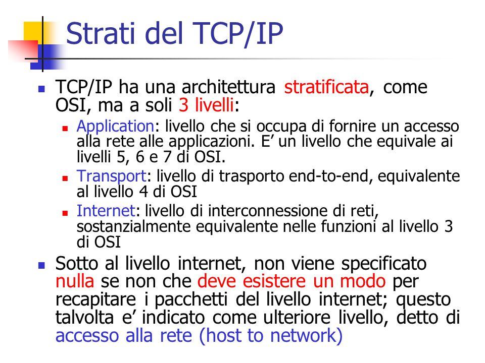 Strati del TCP/IP TCP/IP ha una architettura stratificata, come OSI, ma a soli 3 livelli: Application: livello che si occupa di fornire un accesso all
