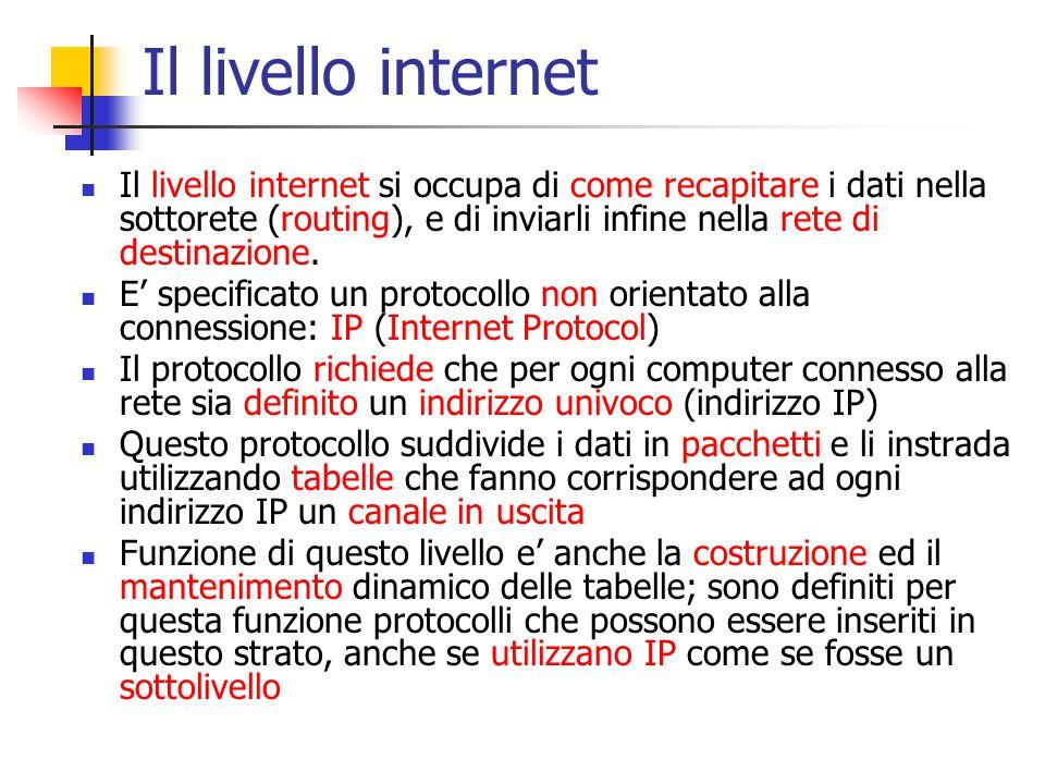 Il livello internet Il livello internet si occupa di come recapitare i dati nella sottorete (routing), e di inviarli infine nella rete di destinazione