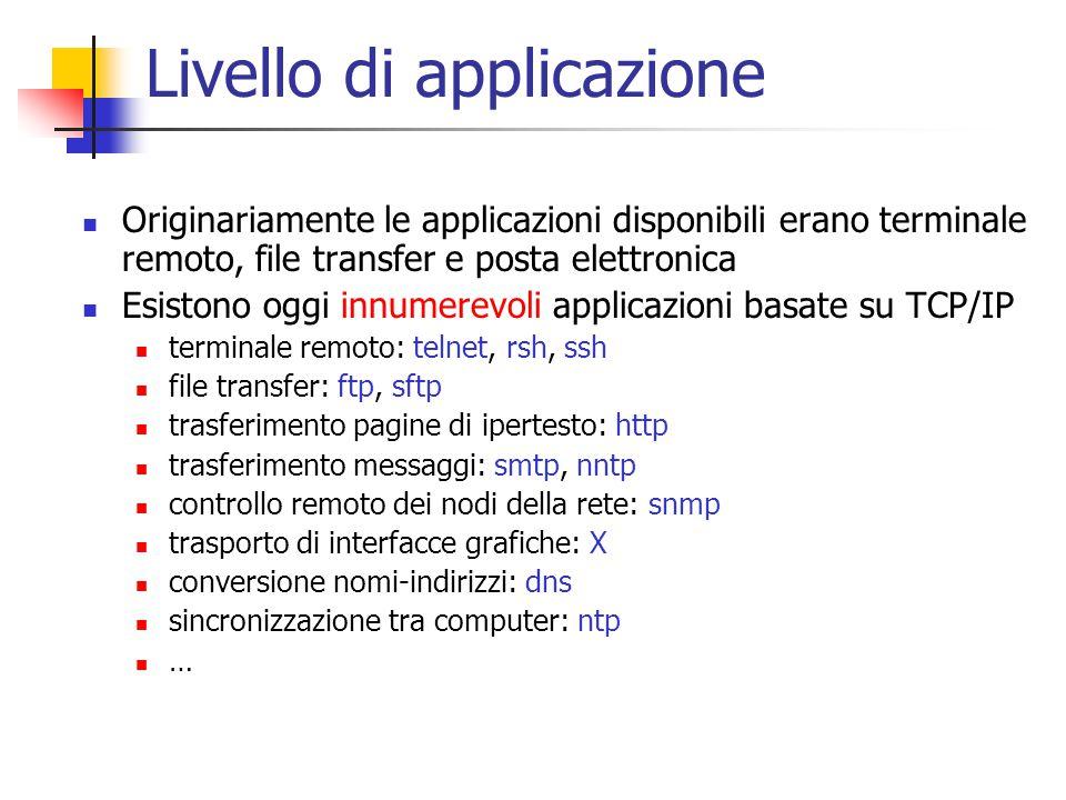 Livello di applicazione Originariamente le applicazioni disponibili erano terminale remoto, file transfer e posta elettronica Esistono oggi innumerevo
