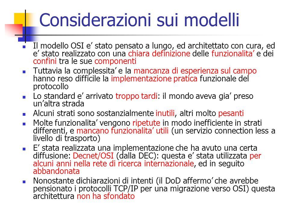 Considerazioni sui modelli Il modello OSI e' stato pensato a lungo, ed architettato con cura, ed e' stato realizzato con una chiara definizione delle