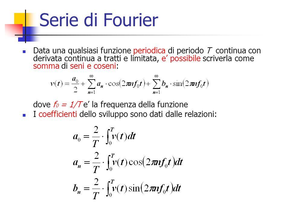 Serie di Fourier Data una qualsiasi funzione periodica di periodo T continua con derivata continua a tratti e limitata, e' possibile scriverla come so