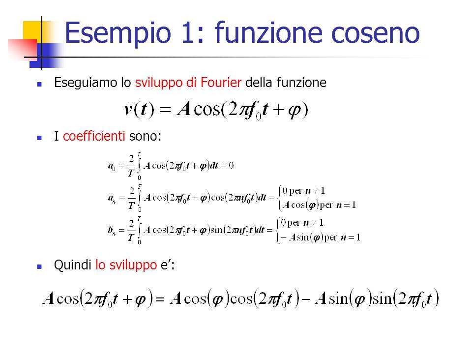 Esempio 1: funzione coseno Eseguiamo lo sviluppo di Fourier della funzione I coefficienti sono: Quindi lo sviluppo e':