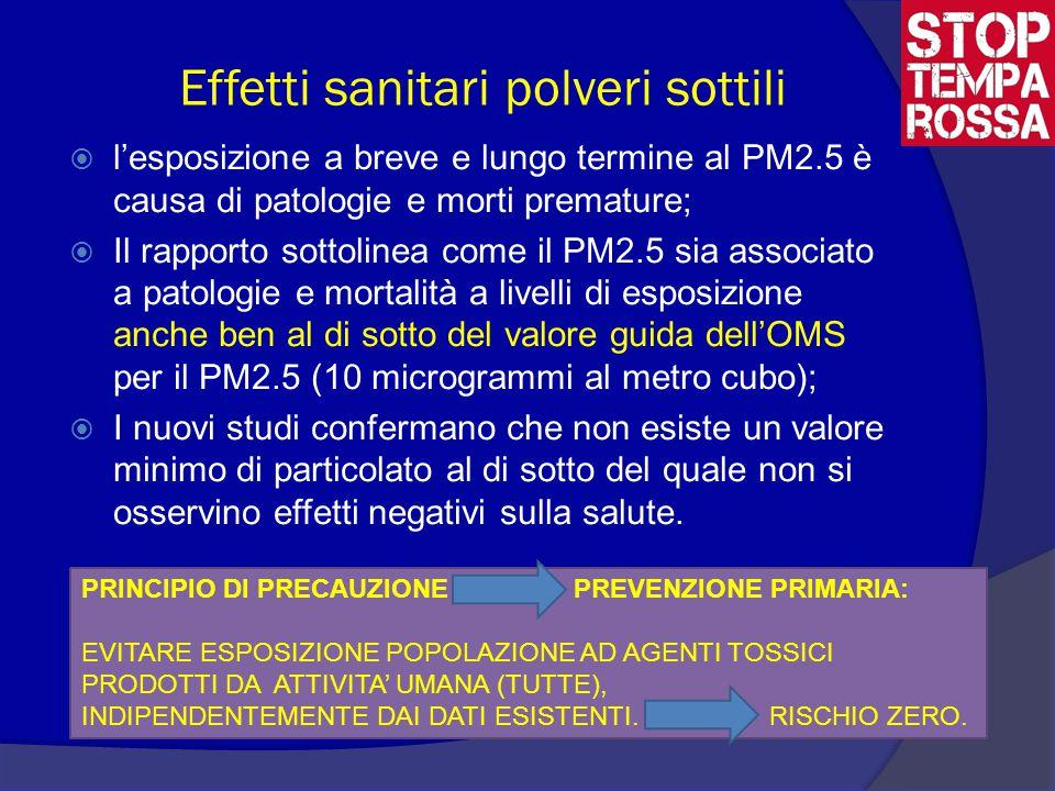 Effetti sanitari polveri sottili  l'esposizione a breve e lungo termine al PM2.5 è causa di patologie e morti premature;  Il rapporto sottolinea come il PM2.5 sia associato a patologie e mortalità a livelli di esposizione anche ben al di sotto del valore guida dell'OMS per il PM2.5 (10 microgrammi al metro cubo);  I nuovi studi confermano che non esiste un valore minimo di particolato al di sotto del quale non si osservino effetti negativi sulla salute.