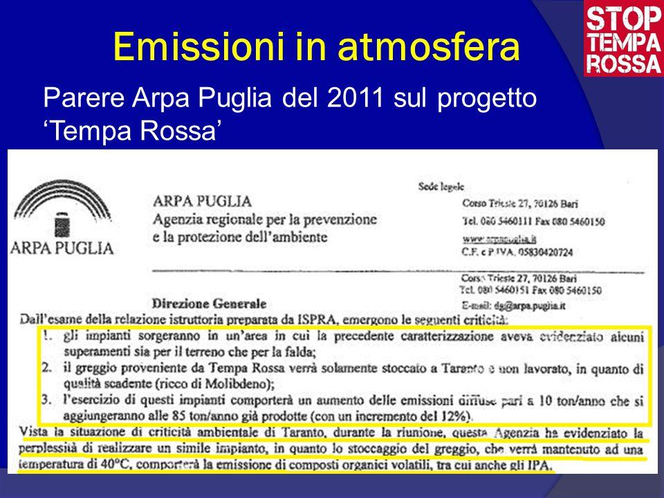 Emissioni in atmosfera Parere Arpa Puglia del 2011 sul progetto 'Tempa Rossa'  Che poneva già allora dei dubbi relativamente alla possibilità di autorizzare tale progetto- allega stralcio arpa-