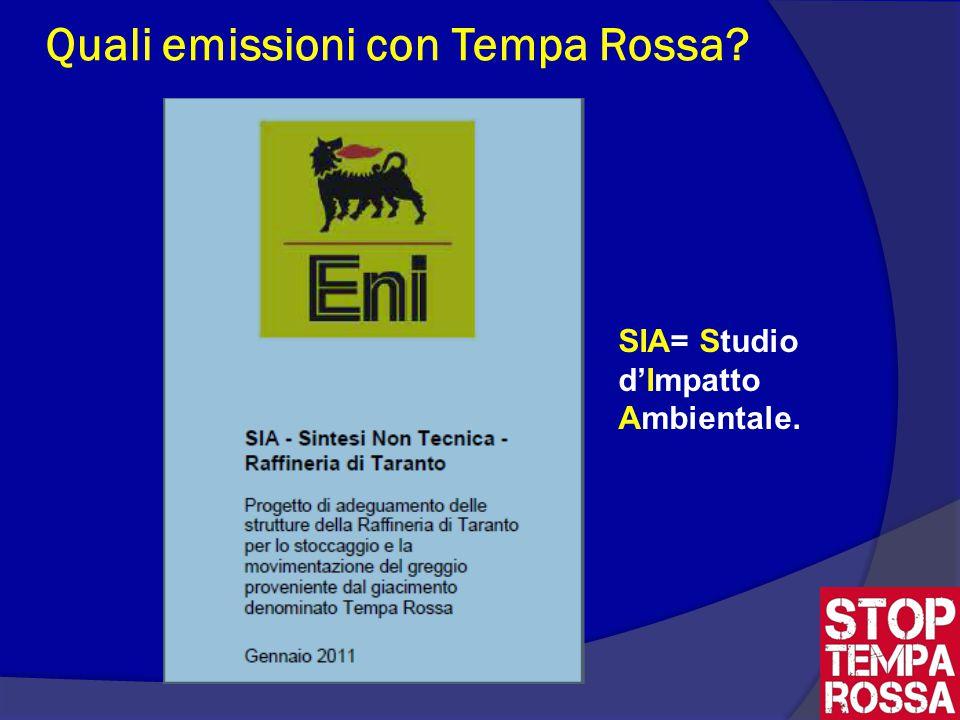 Quali emissioni con Tempa Rossa SIA= Studio d'Impatto Ambientale.