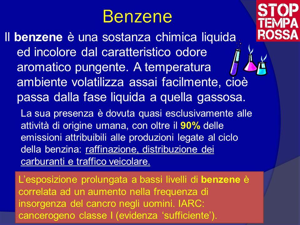 Benzene Il benzene è una sostanza chimica liquida ed incolore dal caratteristico odore aromatico pungente.