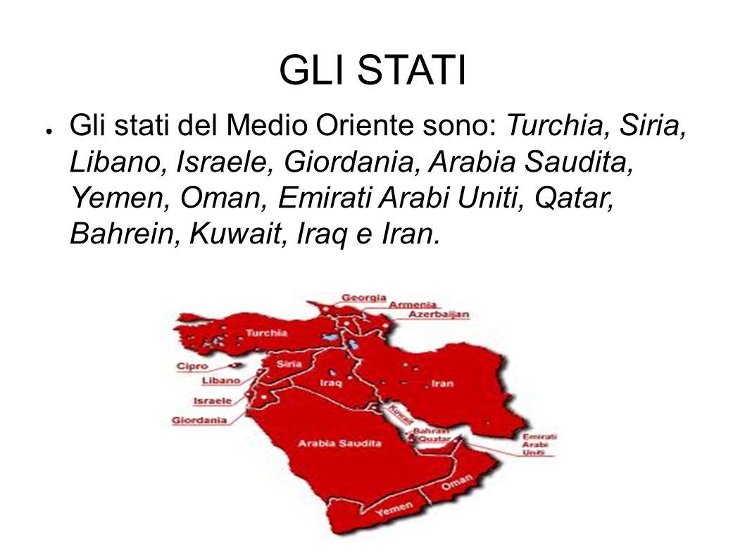 GLI STATI ● Gli stati del Medio Oriente sono: Turchia, Siria, Libano, Israele, Giordania, Arabia Saudita, Yemen, Oman, Emirati Arabi Uniti, Qatar, Bah