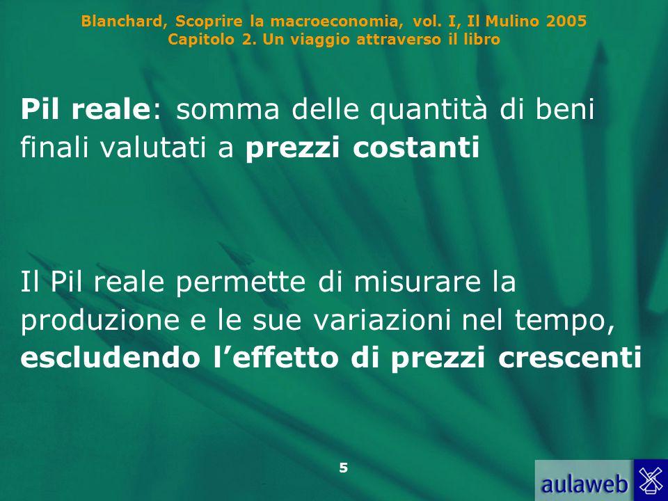 5 Blanchard, Scoprire la macroeconomia, vol. I, Il Mulino 2005 Capitolo 2. Un viaggio attraverso il libro Pil reale: somma delle quantità di beni fina