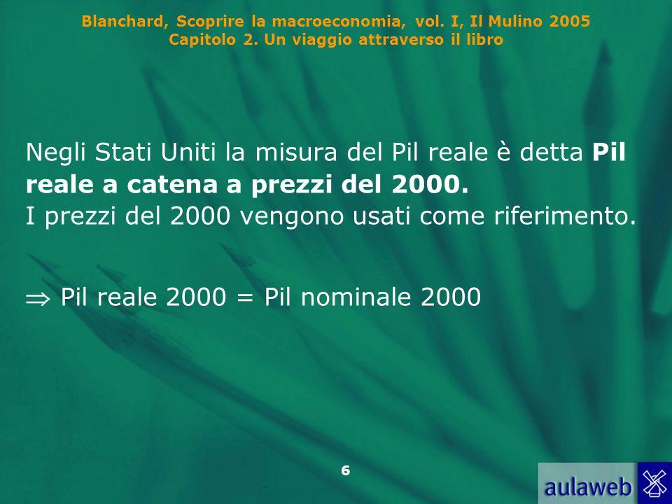 6 Blanchard, Scoprire la macroeconomia, vol. I, Il Mulino 2005 Capitolo 2. Un viaggio attraverso il libro Negli Stati Uniti la misura del Pil reale è