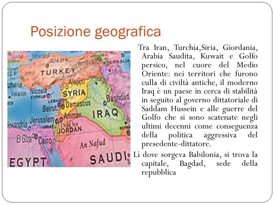 Posizione geografica Tra Iran, Turchia,Siria, Giordania, Arabia Saudita, Kuwait e Golfo persico, nel cuore del Medio Oriente: nei territori che furono