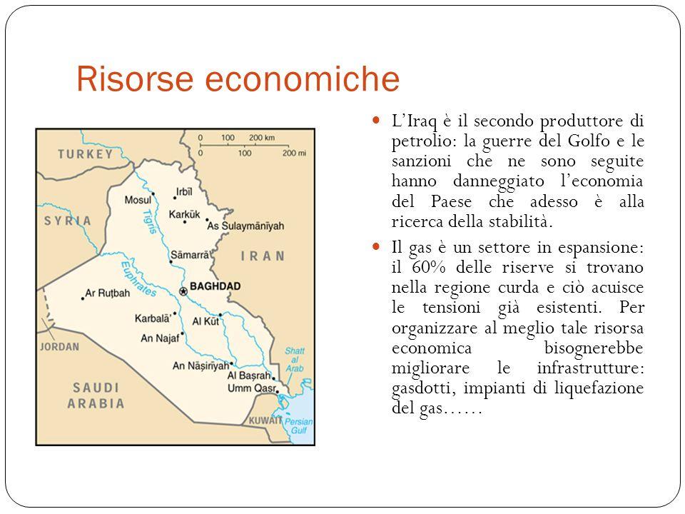 Risorse economiche L'Iraq è il secondo produttore di petrolio: la guerre del Golfo e le sanzioni che ne sono seguite hanno danneggiato l'economia del