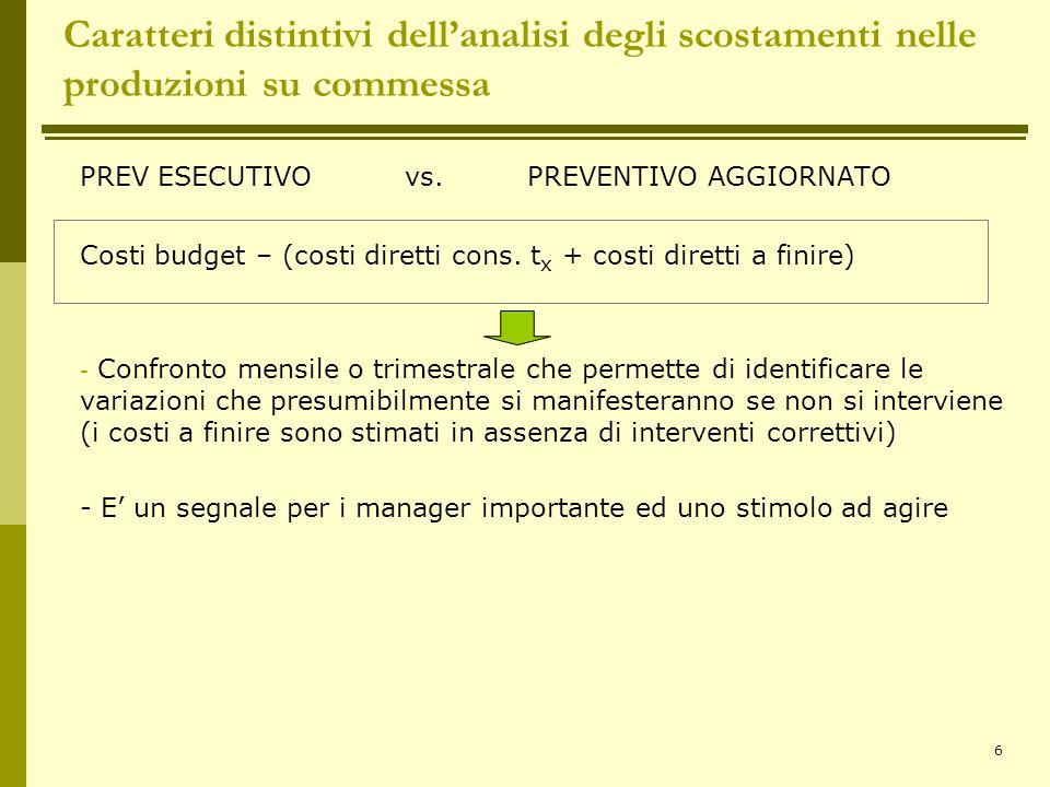 6 Caratteri distintivi dell'analisi degli scostamenti nelle produzioni su commessa PREV ESECUTIVO vs. PREVENTIVO AGGIORNATO Costi budget – (costi dire