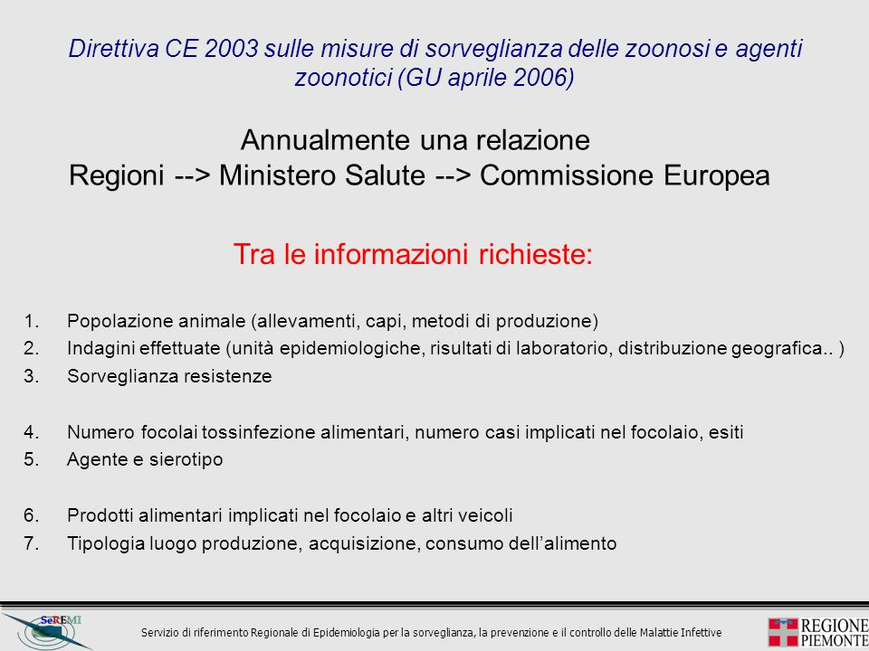 Servizio di riferimento Regionale di Epidemiologia per la sorveglianza, la prevenzione e il controllo delle Malattie Infettive Direttiva CE 2003 sulle misure di sorveglianza delle zoonosi e agenti zoonotici (GU aprile 2006) Annualmente una relazione Regioni --> Ministero Salute --> Commissione Europea 1.Popolazione animale (allevamenti, capi, metodi di produzione) 2.Indagini effettuate (unità epidemiologiche, risultati di laboratorio, distribuzione geografica..