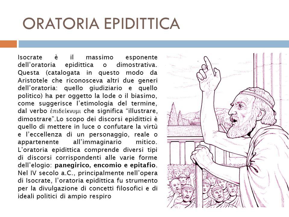 ORATORIA EPIDITTICA Isocrate è il massimo esponente dell'oratoria epidittica o dimostrativa.
