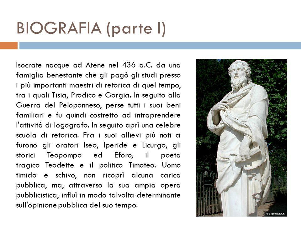 BIOGRAFIA (parte I) Isocrate nacque ad Atene nel 436 a.C.