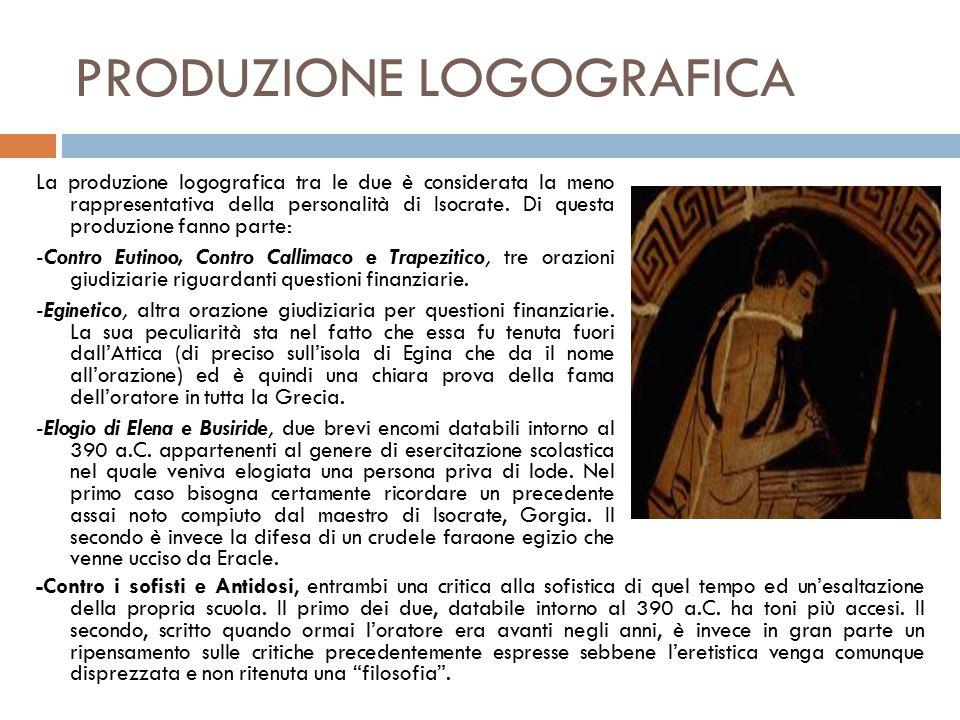 PRODUZIONE LOGOGRAFICA La produzione logografica tra le due è considerata la meno rappresentativa della personalità di Isocrate.