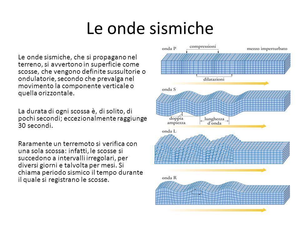 Le onde sismiche Le onde sismiche, che si propagano nel terreno, si avvertono in superficie come scosse, che vengono definite sussultorie o ondulatori