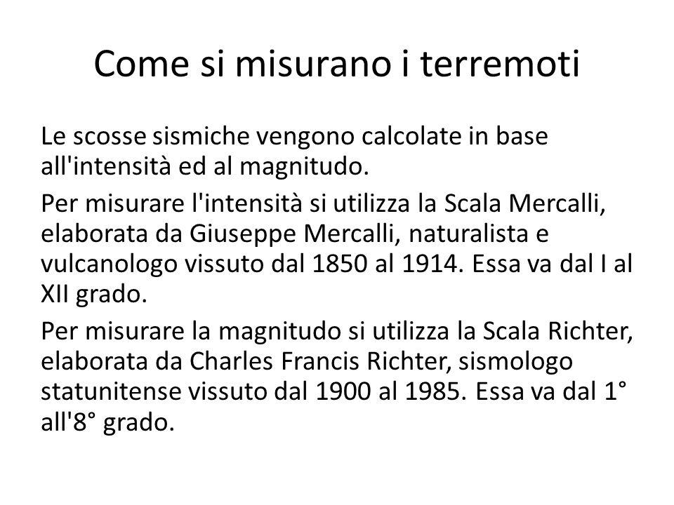 Scala Mercalli e Richter a confronto