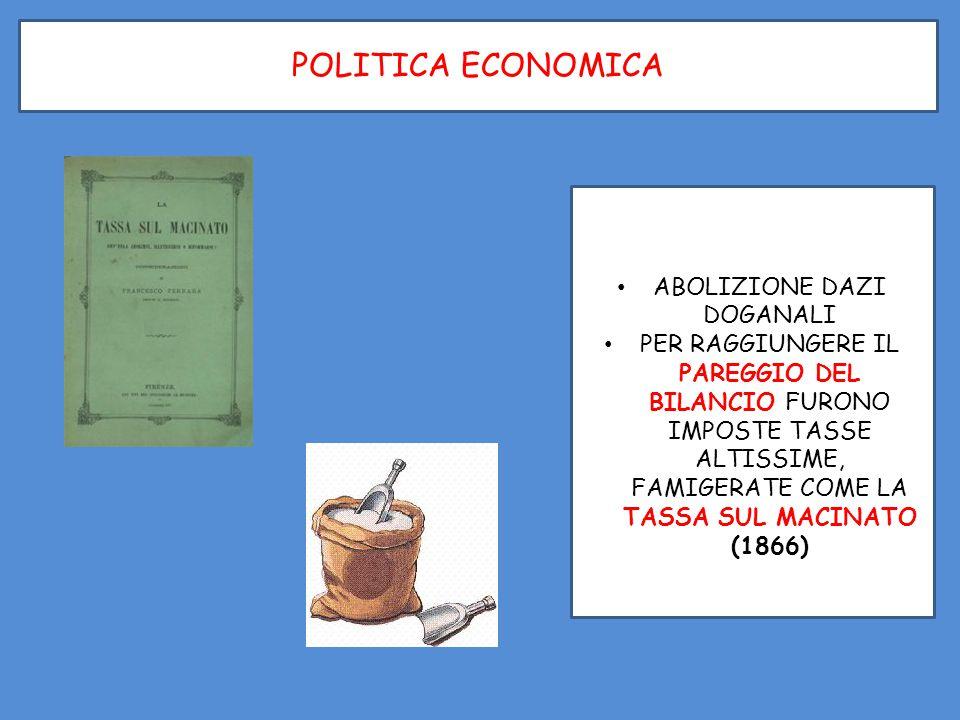ABOLIZIONE DAZI DOGANALI PER RAGGIUNGERE IL PAREGGIO DEL BILANCIO FURONO IMPOSTE TASSE ALTISSIME, FAMIGERATE COME LA TASSA SUL MACINATO (1866)