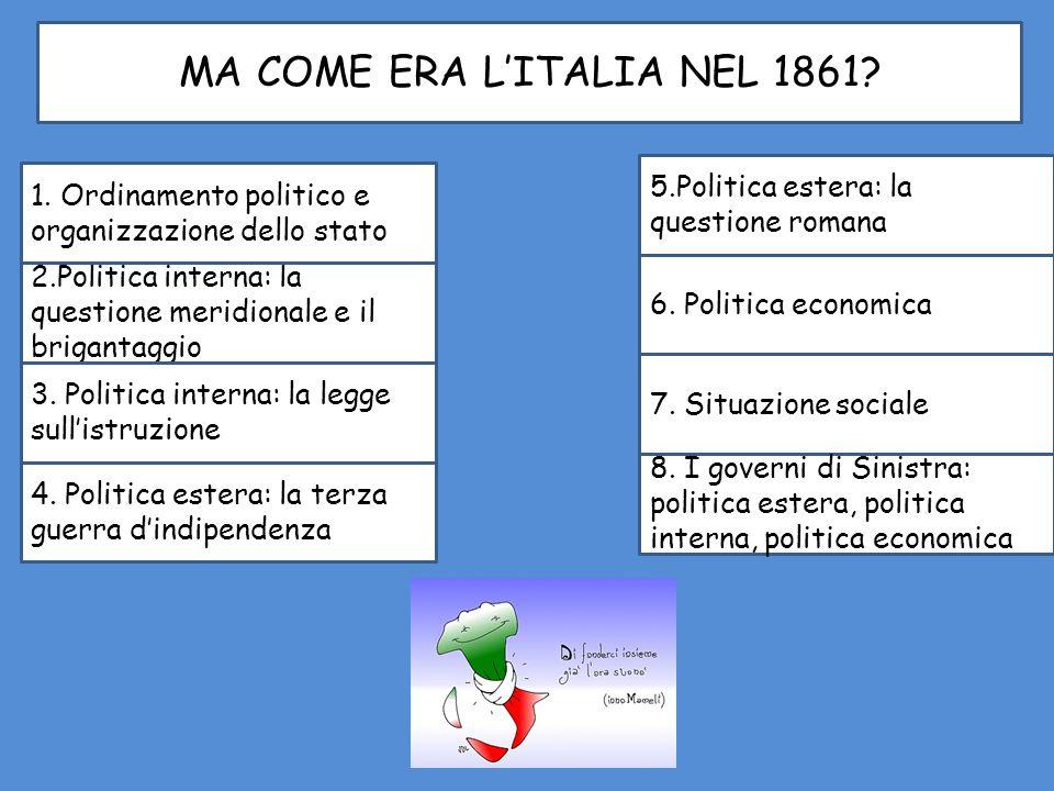 MA COME ERA L'ITALIA NEL 1861? 2.Politica interna: la questione meridionale e il brigantaggio 1. Ordinamento politico e organizzazione dello stato 3.