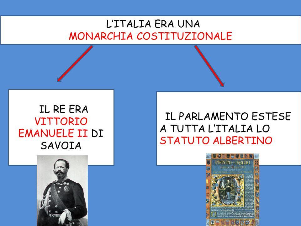 LL'ITALIA ERA UNA MONARCHIA COSTITUZIONALE LIL PARLAMENTO ESTESE A TUTTA L'ITALIA LO STATUTO ALBERTINO LIL RE ERA VITTORIO EMANUELE II DI SAVOIA