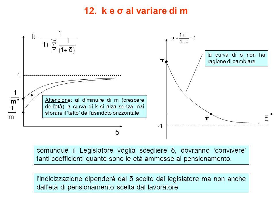 12. k e σ al variare di m 1 la curva di σ non ha ragione di cambiare Attenzione: al diminuire di m (crescere dell'età) la curva di k si alza senza mai