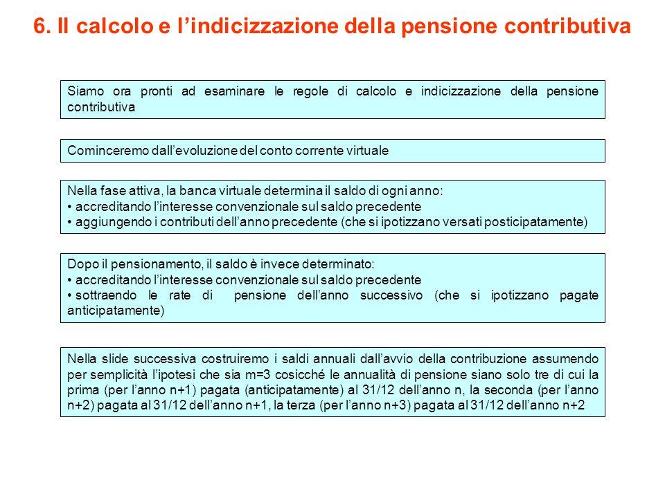 Siamo ora pronti ad esaminare le regole di calcolo e indicizzazione della pensione contributiva 6. Il calcolo e l'indicizzazione della pensione contri
