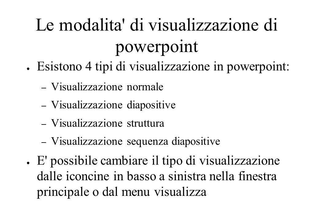 Le modalita' di visualizzazione di powerpoint ● Esistono 4 tipi di visualizzazione in powerpoint: – Visualizzazione normale – Visualizzazione diaposit