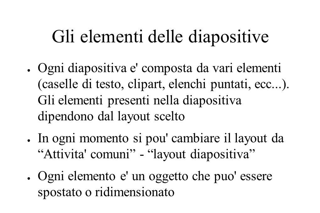 Gli elementi delle diapositive ● Ogni diapositiva e' composta da vari elementi (caselle di testo, clipart, elenchi puntati, ecc...). Gli elementi pres