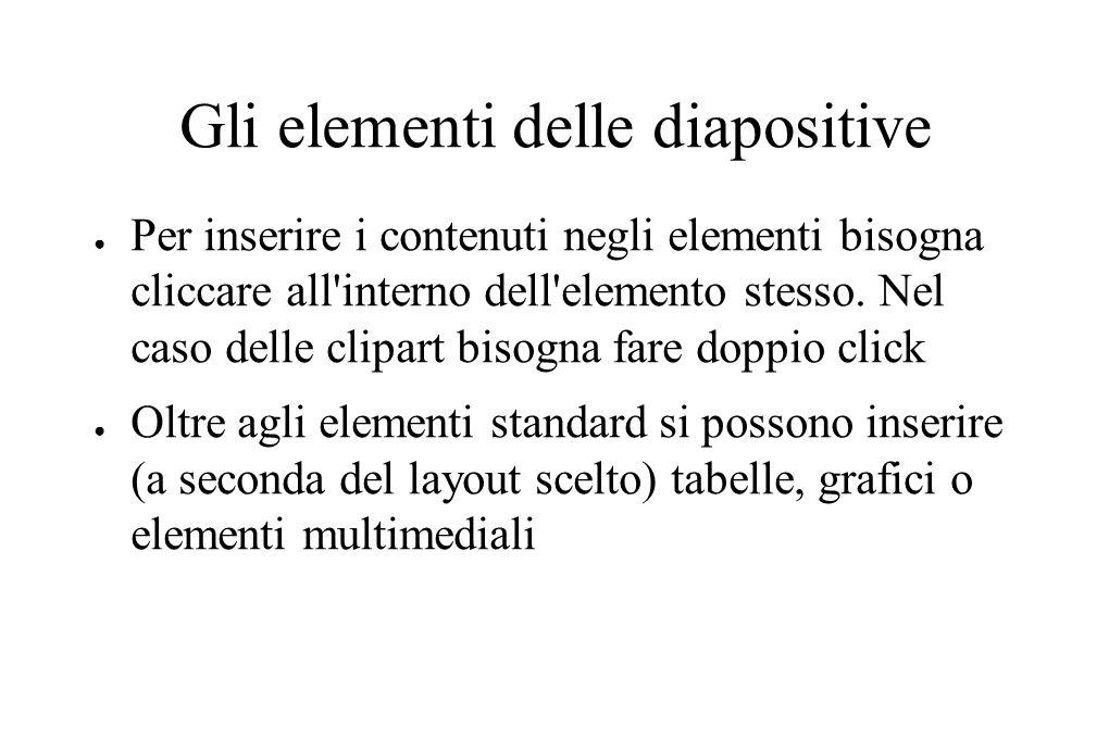 Gli elementi delle diapositive ● Per inserire i contenuti negli elementi bisogna cliccare all'interno dell'elemento stesso. Nel caso delle clipart bis