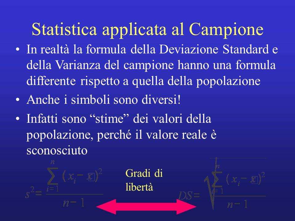 Statistica applicata al Campione In realtà la formula della Deviazione Standard e della Varianza del campione hanno una formula differente rispetto a quella della popolazione Anche i simboli sono diversi.