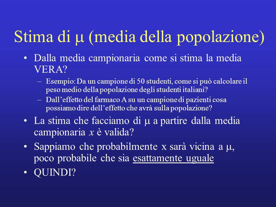 Stima di  (media della popolazione) Dalla media campionaria come si stima la media VERA.