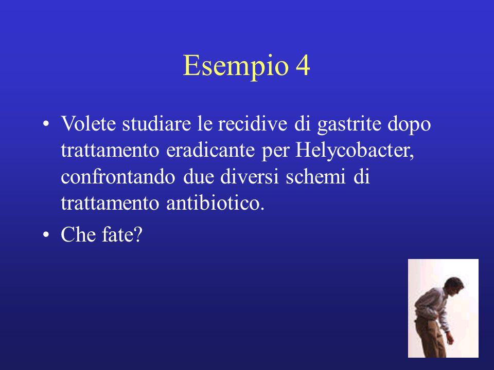 Esempio 4 Volete studiare le recidive di gastrite dopo trattamento eradicante per Helycobacter, confrontando due diversi schemi di trattamento antibio