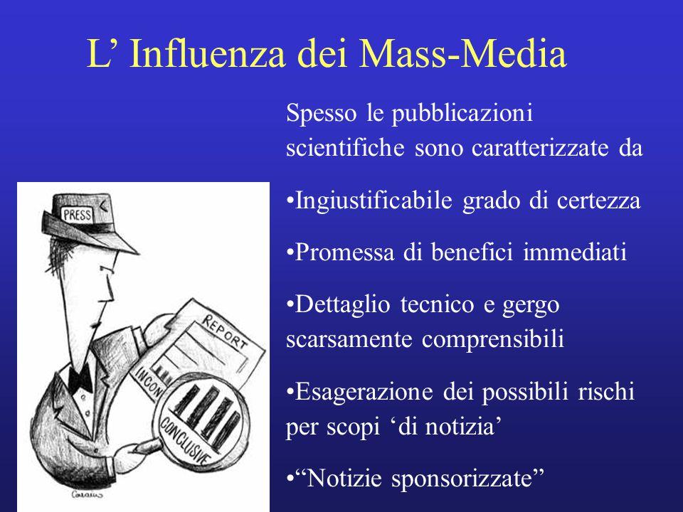 L' Influenza dei Mass-Media Spesso le pubblicazioni scientifiche sono caratterizzate da Ingiustificabile grado di certezza Promessa di benefici immedi