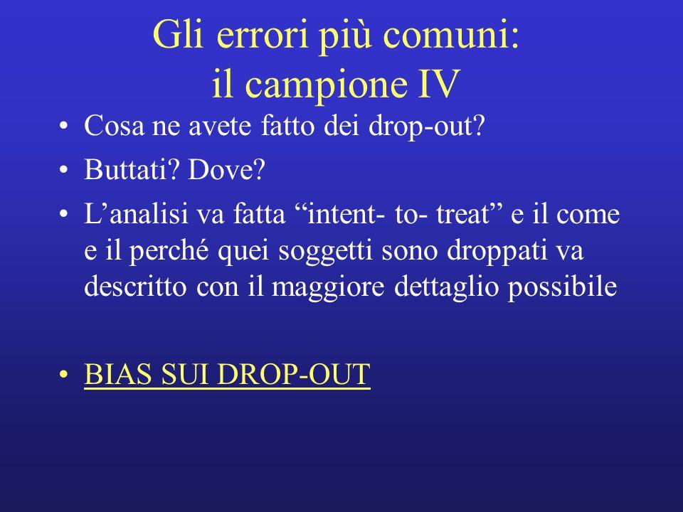 Gli errori più comuni: il campione IV Cosa ne avete fatto dei drop-out.