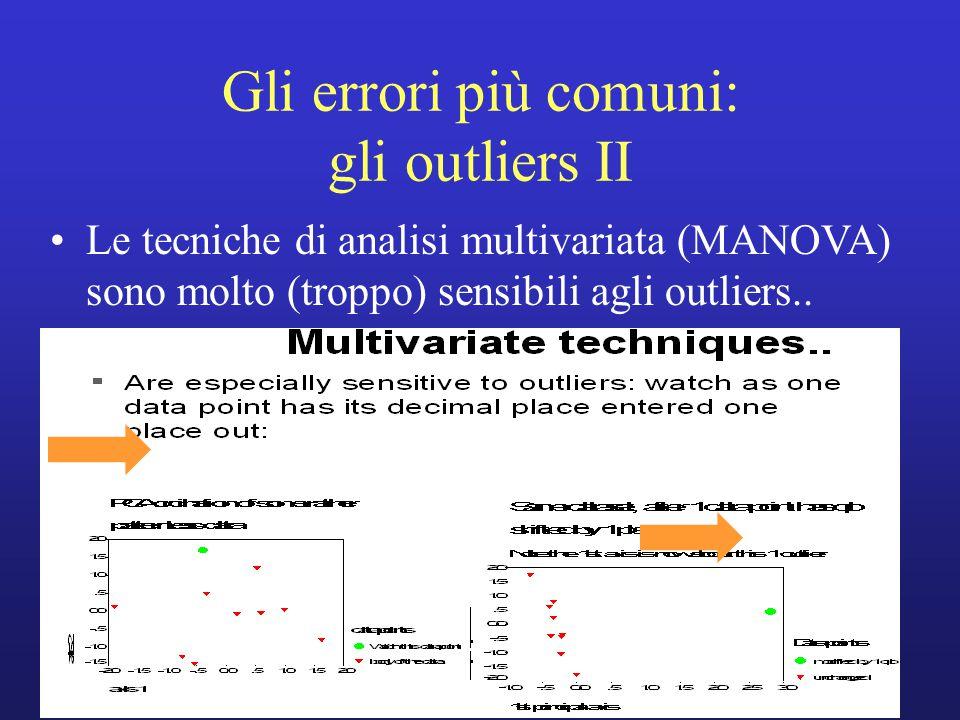 Le tecniche di analisi multivariata (MANOVA) sono molto (troppo) sensibili agli outliers.. Gli errori più comuni: gli outliers II