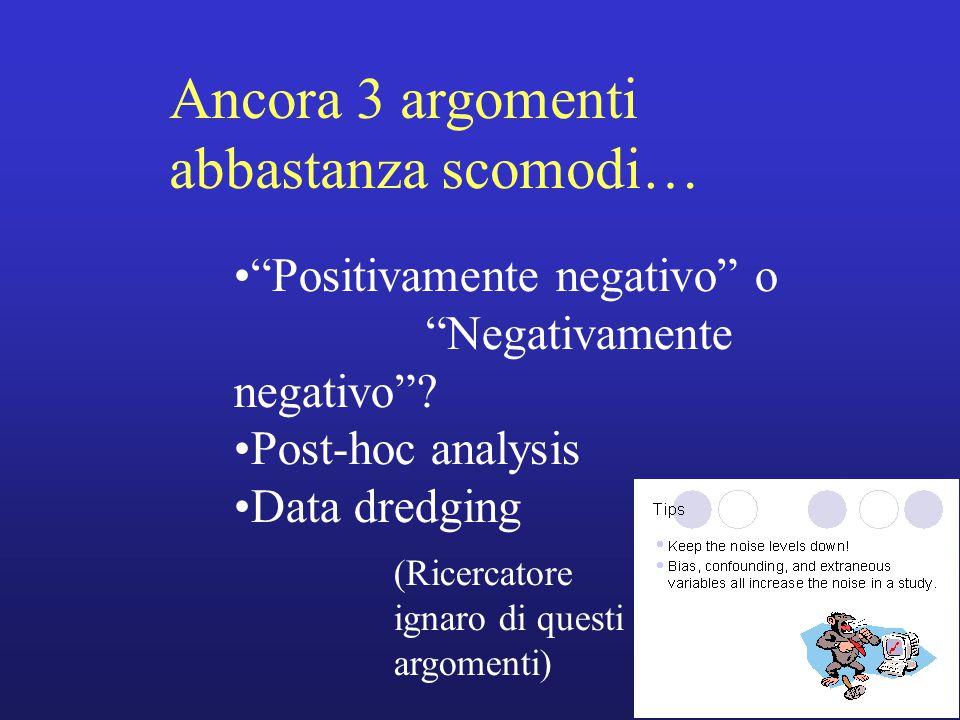 """Ancora 3 argomenti abbastanza scomodi… """"Positivamente negativo"""" o """"Negativamente negativo""""? Post-hoc analysis Data dredging (Ricercatore ignaro di que"""