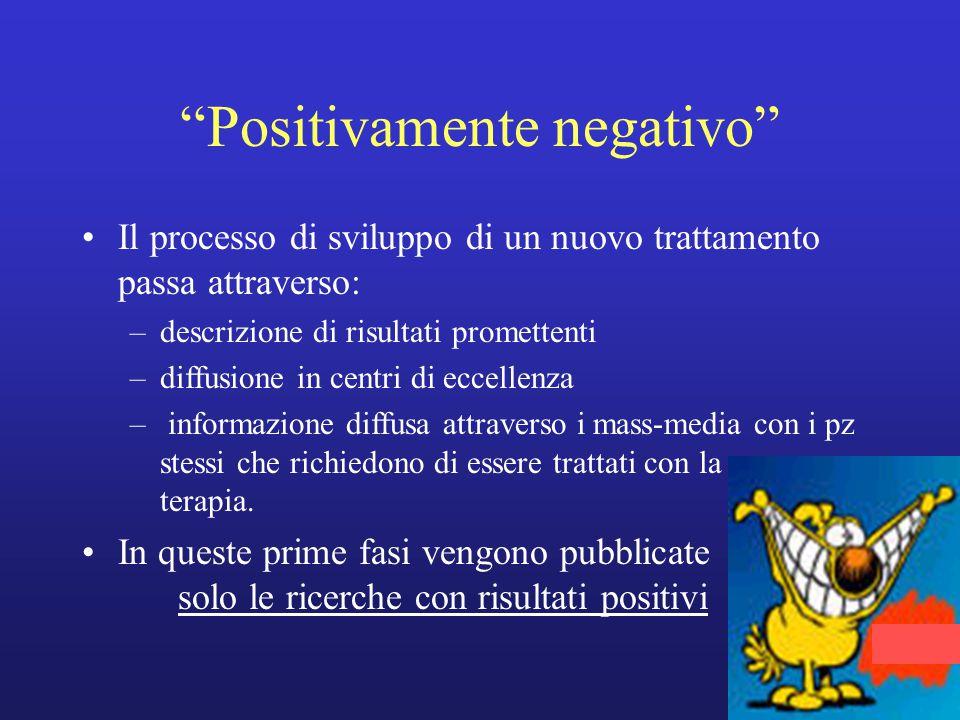 """""""Positivamente negativo"""" Il processo di sviluppo di un nuovo trattamento passa attraverso: –descrizione di risultati promettenti –diffusione in centri"""