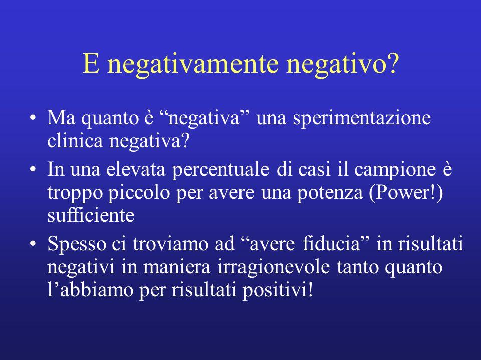 """E negativamente negativo? Ma quanto è """"negativa"""" una sperimentazione clinica negativa? In una elevata percentuale di casi il campione è troppo piccolo"""
