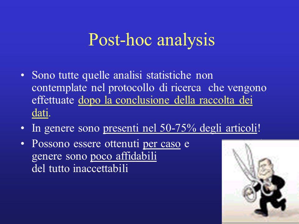 Sono tutte quelle analisi statistiche non contemplate nel protocollo di ricerca che vengono effettuate dopo la conclusione della raccolta dei dati. In