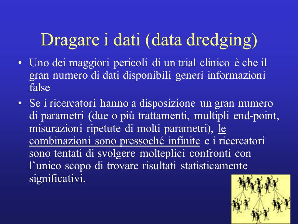 Dragare i dati (data dredging) Uno dei maggiori pericoli di un trial clinico è che il gran numero di dati disponibili generi informazioni false Se i r