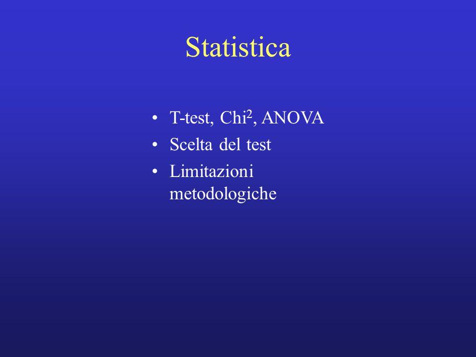 Statistica T-test, Chi 2, ANOVA Scelta del test Limitazioni metodologiche