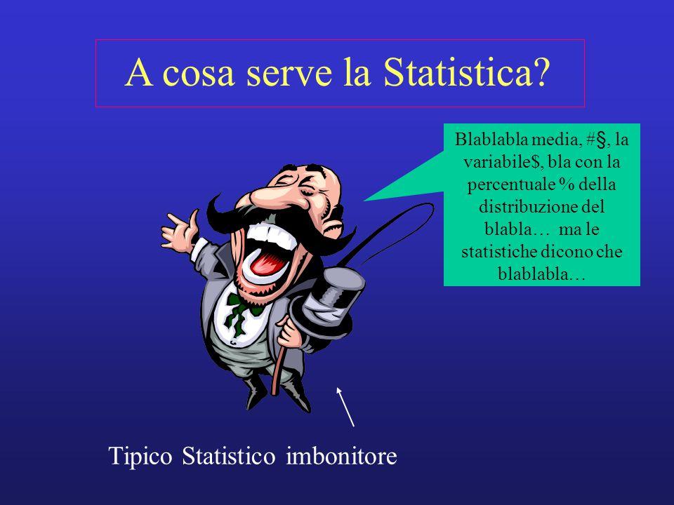 A cosa serve la Statistica? Tipico Statistico imbonitore Blablabla media, #§, la variabile$, bla con la percentuale % della distribuzione del blabla…