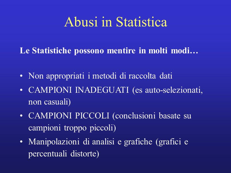 Abusi in Statistica Le Statistiche possono mentire in molti modi… Non appropriati i metodi di raccolta dati CAMPIONI INADEGUATI (es auto-selezionati, non casuali) CAMPIONI PICCOLI (conclusioni basate su campioni troppo piccoli) Manipolazioni di analisi e grafiche (grafici e percentuali distorte)