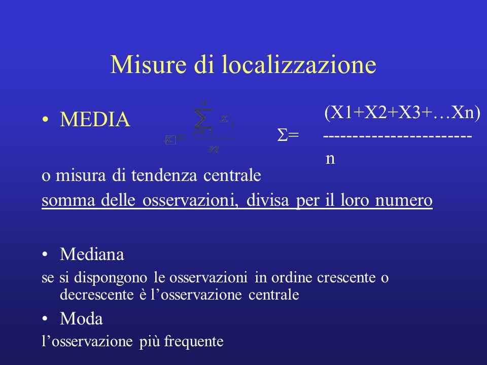Misure di localizzazione MEDIA o misura di tendenza centrale somma delle osservazioni, divisa per il loro numero Mediana se si dispongono le osservazioni in ordine crescente o decrescente è l'osservazione centrale Moda l'osservazione più frequente (X1+X2+X3+…Xn)  = ------------------------ n